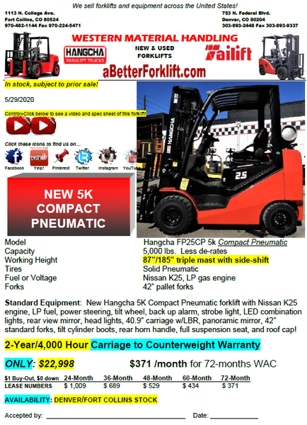 NEW 5K COMPACT PNEUMATIC FORKLIFTS ONLY $22,998!